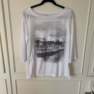 Loft XL top with Paris print and silver sparkles
